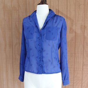 VINTAGE Upper Class Sheer Button Up Blouse
